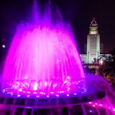 Grand Park fountain in Downtown L.A. In pretty neon pink with some purple.