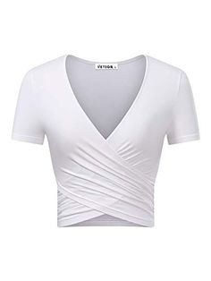KIRA Women's Deep V Neck Short Sleeve Unique Cross Wrap Slim Fit Crop Tops (Small, White.) - Products Lists of Tools and Hardware Summer Crop Tops, Cute Crop Tops, Crop Top Shirts, Cropped Tops, Sexy Shirts, Summer Shirts, Long Sleeve Wrap Top, Wrap Shirt, Bodycon
