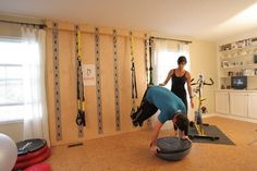 home gym on wall TRX - eclectic - home gym - cleveland - Anne Douglass