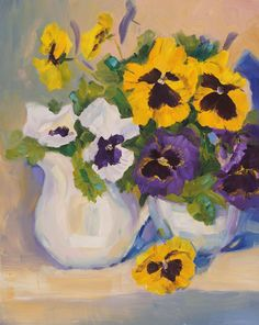 An original oil painting of beautiful pansies in a still life setting, part of my Garden 101 daily painting challenge. This painting is full of life