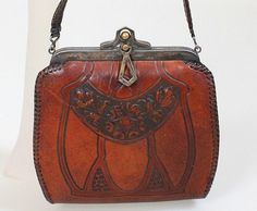 Vintage Edwardian purse, 1910 - 1920's tooled leather bag.