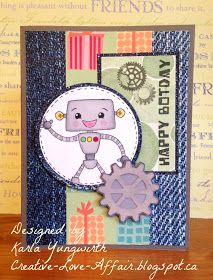 Creative Love Affair: Robotastic Birthday! Robot Birthday Card using Pretty Cute stamps BOTday and Gears to You!