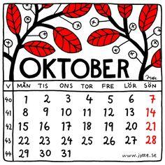 October 2018. Calendar illustration by Jytte Hviid on etsy.