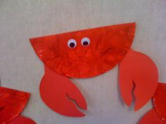 "Crab Paper Plate Craft - for ""C"" week  @Amy Ruppert @Holly Reed"