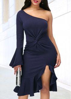 Navy Blue One Shoulder Side Slit Dress   Rosewe.com - USD $33.98