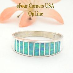 Size 11 1/2 Light Blue Fire Opal Inlay Wedding Band Ring Ella Cowboy WB-1606 Four Corners USA OnLine Native American Jewelry Wide Wedding Bands, Engagement Wedding Ring Sets, Four Corners Usa, Native American Wedding, Alternative Wedding Rings, Great Anniversary Gifts, Beautiful Wedding Rings, Band Rings, Light Blue