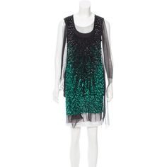 Pre-owned Givenchy Embellished Tulle-Trimmed Top ($245) ❤ liked on Polyvore featuring tops, green, givenchy top, scoop neck sleeveless top, green sequin top, givenchy and scoop neck top