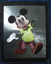 """MICKEY MOUSE & BABY MICKEY"""" Beautiful Foil Prints 8''X10'' w/Glass, Matted"""