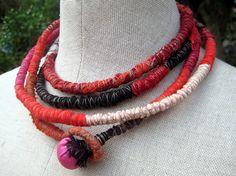 Gabriela Wrapped Textile Fiber Necklace/Belt by atelierdana, $75.00