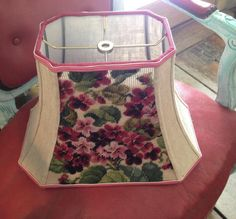 African Violet Lamp Shade Vintage Needlepoint Rectangle