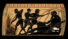 Ulysses and his companions gouging out the eye of the Cyclops Polyphemus, illustration from an antique Greek vase, 1887 (colour litho)CreatorFrench School, (19th century) (The Odyssey)