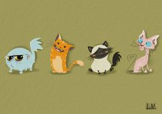 Cats. Animal characters.