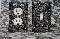 SET of 2 Starry Night Glitter Switch Plate / Outlet Covers ANY STYLES | GlitterItMine - Housewares on ArtFire