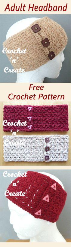Adult headband to keep you ears warm, free crochet pattern. #crochet