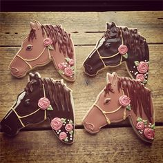 The cookies that almost got rained out, and how sad would I of been if I didn't get to make these super girly horses. We've had such crazy rains here in Austin Horse Birthday Parties, Cowgirl Birthday, Cowgirl Party, Farm Birthday, Rodeo Party, Birthday Ideas, Birthday Breakfast, Caballo Spirit, Horse Cookies