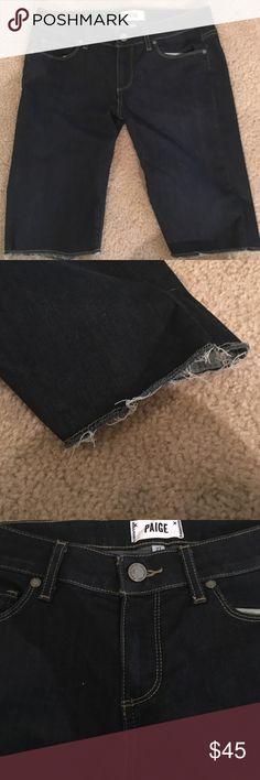 Paige Kayla Bermuda shorts Like new, stretchy shorts.  Dark wash Paige Jeans Shorts Bermudas