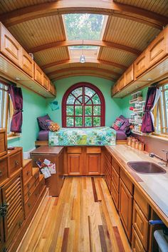 Tiny house community gypsy wagon interior, gypsy caravan interiors, small c Tiny House Living, Small Living, Living Area, Living Room, Tiny House Community, Simply Home, Casas Containers, Bus House, School Bus Tiny House