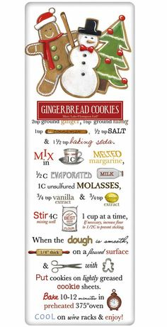 Santa Gingerbread Cookie Recipe Christmas 100% Cotton Flour Sack Dish Towel Tea Towel