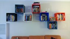 Milk crate bookshelf built with new and used milk crates. Told it is the ultimate hipster bookcase
