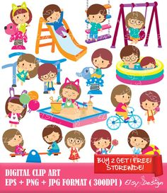 Playground Kids Clip Art by ElsyDesign on Etsy