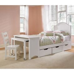 The Lea Haley Panel Desk Bedroom Collection offers a versatile selection of bedroom furniture pieces you can choose from to create a special haven. Choose your own combination of pieces: a twin bed desk chair under-bed storage nightstand and chest. In all the pieces you'll notice graceful lines and delicate hand-carved details that make this a perfect bedroom set for your favorite young lady. You can feel the peacefulness flowing.The configuratio
