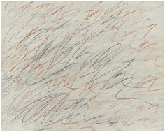 CY TWOMBLY, 1928 – 2011, UNTITLED oil, graphite and colored crayon on paper laid on canvas: 27 ½ x 34 5/8 in. 70 x 88 cm.