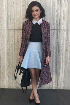 Lucy Hale wearing Saint Laurent Classic Small Sac De Jour Bag in Dove White/Black, Oscar De La Renta Wool Cotton Collarless Coat and Alex Perry Vonnie Dress