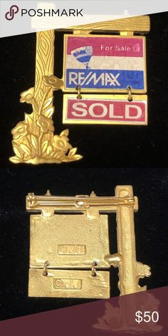 """Rare Vintage Remax Real Estate Brooch Pin by JJ Rare Vintage Remax Real Estate Brooch Pin by JJ Gold Tone Jewelry Measures about 2 1/4"""" x 1 1/2"""" Very good condition Super fast shipping with delivery confirmation JJ Jonette Jewelry Brooches"""