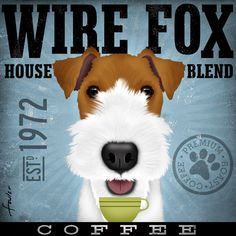 Wire Fox Terrier Coffee Company original graphic art  on canvas 12 x 12 x 1.5 by stephen fowler. $79.00, via Etsy.