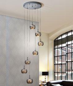 Long Drop LED Smoked Glass Pendant