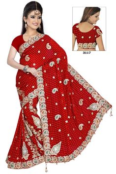 7a57bdf2b85432 buy saree online Red Colour Viscose Embroidery and Stone Work Bridal  Wedding Saree Buy Saree online - Buy Sarees online