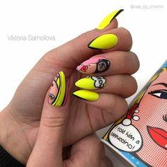 Pop Art Nails, Art Deco Nails, Neon Nails, Bling Nails, Disney Acrylic Nails, Red Acrylic Nails, Stylish Nails, Trendy Nails, Hippie Nails