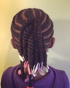 GaBBY's cute new braids and twists by The Hair Geek with hot pink, purple, pink and white GaBBY Bows!