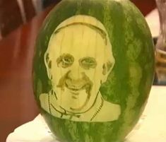 Pope Francis watermelon carving makes the local news. Click to see more photo and the video news clip. http://www.vegetablefruitcarving.com/blog/pope-francis-watermelon-carving/