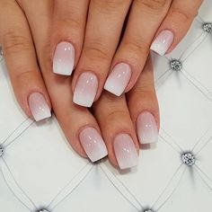 french tip nails - french tip nails . french tip nails with design . french tip nails acrylic . french tip nails with glitter . french tip nails coffin . french tip nails short . french tip nails acrylic coffin . french tip nails coffin short Cute Acrylic Nails, Cute Nails, Pretty Nails, My Nails, Short Square Acrylic Nails, Faded Nails, Square Gel Nails, S And S Nails, Natural Acrylic Nails