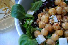 Ensalada templada de garbanzos Sin Gluten, Sprouts, Potato Salad, Potatoes, Vegetables, Ethnic Recipes, Healthy Salads, Easy Recipes, Ethnic Food