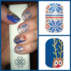 Love Christmas themed Nail Art but can't do it yourself? You can with Jamberry Nail Wraps! Shown here are Reindeer Games and Sweater Weather. One costs less than a salon manicure with Nail Art! Each sheet is enough for two manicures and two pedicures.  www.jorear.jamberrynails.net