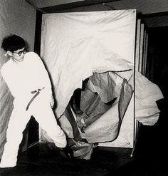 Pictured here is Gutai artist Saburo Murakami's action work at the 2nd Gutai Art Exhibition in Ohara Hall, Tokyo, in 1956.