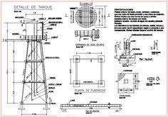 Planos de Tanque elevado en DWG AUTOCAD, Tanques - Máquinas instalaciones