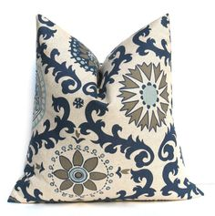 Blue Tan Pillow. Decorative Throw Pillows. Blue Gray. Suzani. ONE 26x26 Printed Fabric both sides. Dark Blue Cream  Cushion Cover