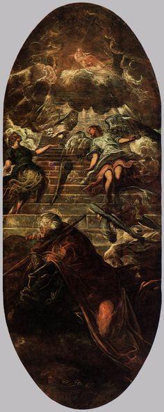 TINTORETTO Jacob's Ladder 1577-78 Oil on canvas, 660 x 265 cm Scuola Grande di San Rocco, Venice