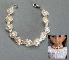 "Dolls Hand Made Pearls Necklace fits 18"" American Girl and slim 18"" Carpatina dolls"