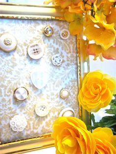 buttons and yellow spring flowers