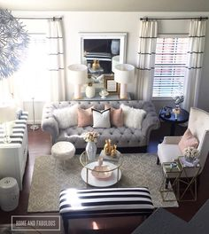 Pin by Ashlee Thomason on For the Home 21 in 2019 Blush Living Room, Home Living Room, Apartment Living, Living Room Designs, Living Room Decor, Feminine Living Rooms, Living Room Inspiration, Home Decor Inspiration, Home And Deco