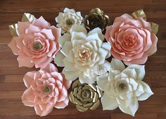 8 pc gigantes flores de papel Telón de fondo buffet por ShopOliposa