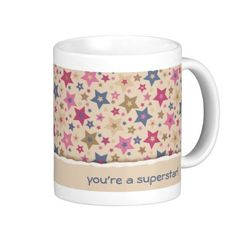 Coffee mug with cool star pattern and space for a cute message #PODpinparty #zandiepants