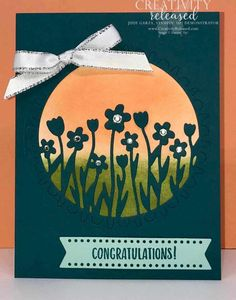 A congratulations card using the Sending Flowers Dies from the Coordination Release Birds In The Sky, Birthday Sentiments, Under My Umbrella, Circle Punch, Glue Dots, Congratulations Card, Liberty Of London, My Stamp, Flower Cards
