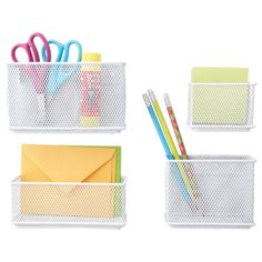 Store anything from paper clips to rubber bands and pencils in our Magnetic Mesh Bins.