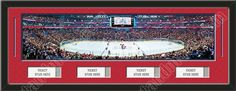 One framed large Montreal Canadiens stadium panoramic with openings for 1, 2, 3, or 4 ticket stubs*, double matted in team colors to 39 x 13.5 inches.  The lines show the bottom mat color. $189.99  @ ArtandMore.com