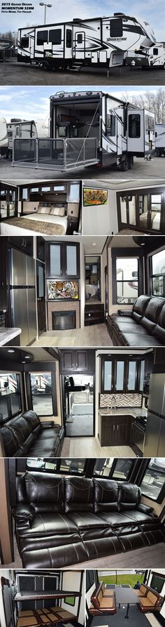 Inside the main living area of this 2015 Grand Design MOMENTUM M-Class 328M Fifth Wheel TOY HAULER is a large reclining sofa, an entertainment center along with a cozy fireplace below and a large kitchen with a walk-in pantry. Inside the rear cargo area are happi-jac rollover sofas with a top bed that stores neatly up at the ceiling when not in use. If you wish to add a washer/dryer, there are connects for that too, plus so much more!